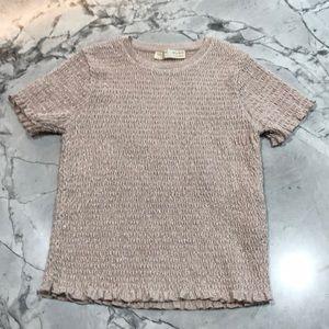 Zara Kids flesh colored lame' short sleeve top